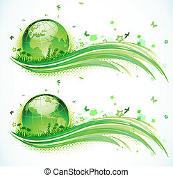 Vector illustration of green abstract lines background - composition of curved lines, floral elements and globe.
