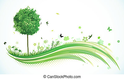 Green eco Background - Vector illustration of green abstract...