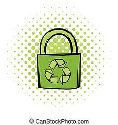 Green eco bag comics icon