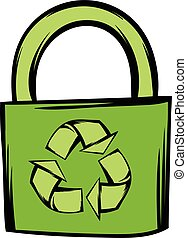 Green eco bag icon in cartoon style isolated vector illustration