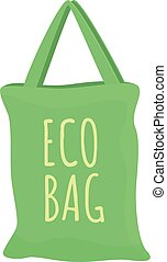 Green eco bag icon, cartoon style