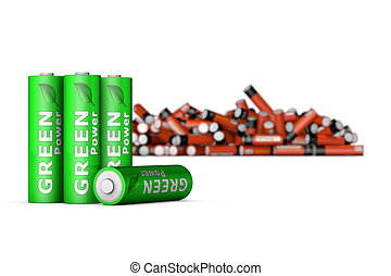 Green Eco Batteries in Front - four modern green ecological...