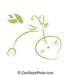 Green Eco Bicycle on a White Background