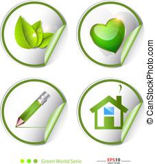 Green, eco, bio label, sticker set - Creative vector...