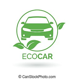 Green eco car icon. Vector illustration