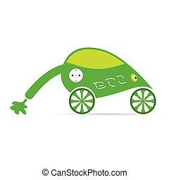 green eco car with plug vector illustration