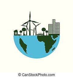 Green Eco Earth Flat Style