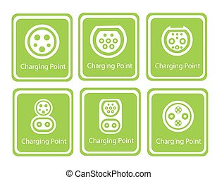 Green Eco Electric Fuel Pump Vector Icon