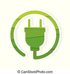 green, eco electric plug icon- vector illustration