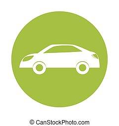 Green eco energy car icon