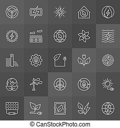 Green eco energy icons