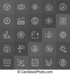 Green eco energy icons