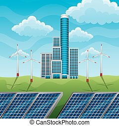 green eco factory building with electric solar panels and wind turbines