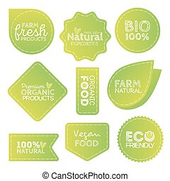 Green Eco Food Labels. Health Headings. Vector Illustration Collection