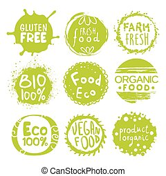 Green Eco Food Lables Set - Green Eco Food Labels. Vector...