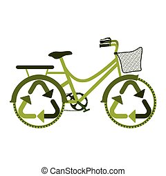 green eco friendly bike with recycling symbol