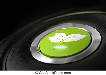 green eco friendly car button with leaves pictogram, and light symbol of fuel economy