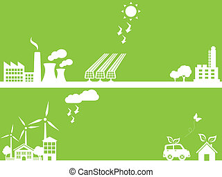 Green eco friendly city - Eco friendly city and industry