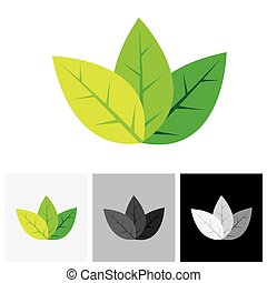 Green eco friendly concept logo vector icon - abstract leaves.