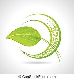 Green eco friendly icon with leaf