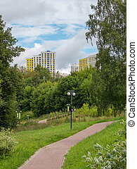 Green eco-friendly Park in the city quarter in the North of ...