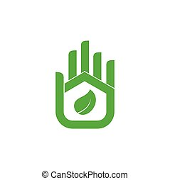 green eco home factory hand palm fingers design logo vector