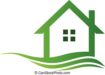 Green isolated house in swoosh