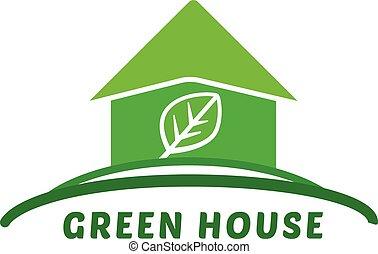 green eco house icon vector illustr