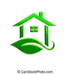 Green Eco House Logo. 3D Rendering Illustration