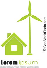 Green eco house logo