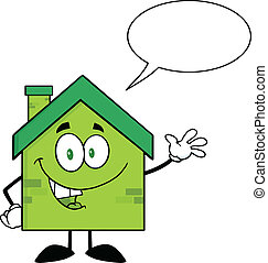Green Eco House With Speech Bubble