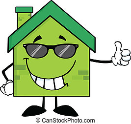 Green Eco House With Sunglasses