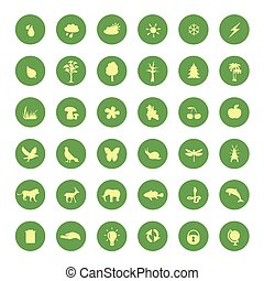 green eco icons set