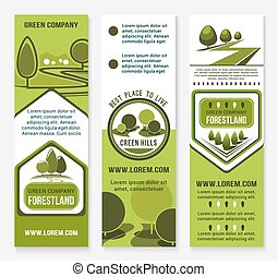 Green eco landscape design company vector banners - Green...