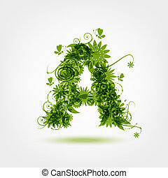 Green eco letter A for your design
