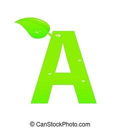 Green eco letter A vector illiustration