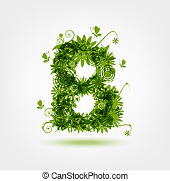Green eco letter B for your design
