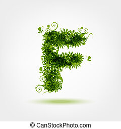 Green eco letter F for your design
