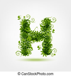 Green eco letter H for your design