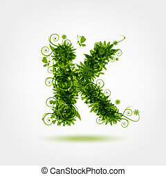 Green eco letter K for your design