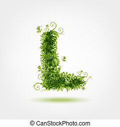 Green eco letter L for your design