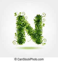 Green eco letter N for your design