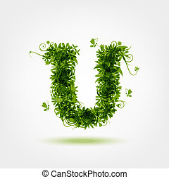 Green eco letter U for your design