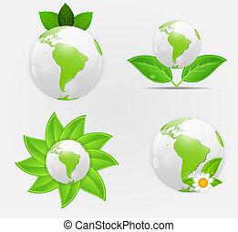 Green eco planet concept vector illustration