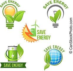Green eco power and energy saving symbol set