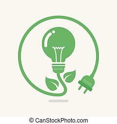Green eco power lightbulb