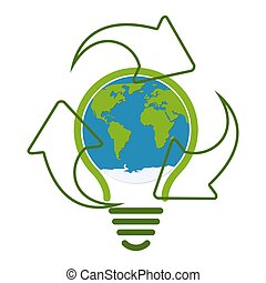 Green eco recycle light bulb icon vector illustration
