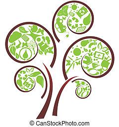 Green eco tree - Green tree with eco symbols