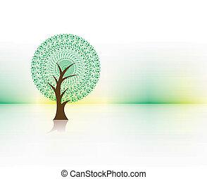 hand darw vector green tree on eco background , vector illustration