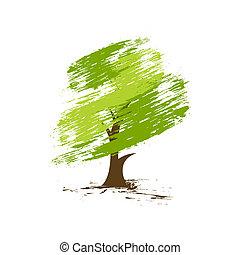 hand draw green tree on eco background, illustration